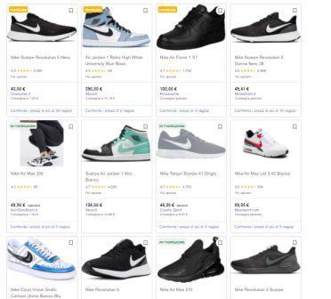 """Pagina dei Risultati di ricerca Google per la categoria """"prodotti"""". Sono presenti i prodotti con il prezzo."""